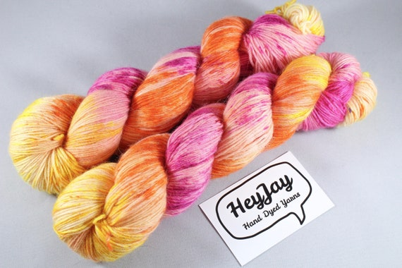 Hand Dyed Sock Yarn Merino, Alpaca, Nylon Blend - Woah Mama