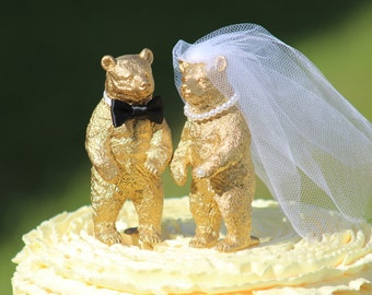 Gold Bear Wedding Cake Topper - Mr & Mrs Bear - Bride and Groom - Rustic Country Chic Wedding