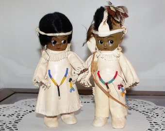 Celluloid Doll Rattles ~ Native American Indian Costume Vintage Dolls ~ Beaded Leather Buckskin ~ Girl + Boy w/ Bow & Arrow ~ Child Infant