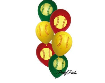 softball balloons, fastpitch party decorations, 6CT, graduation, girls sports, players, team party, teens birthday ideas, senior night