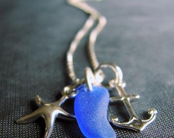 Sea Glass Necklace / sea glass jewelry / seaglass necklace / beach glass necklace / anchor necklace / starfish necklace / blue sea glass