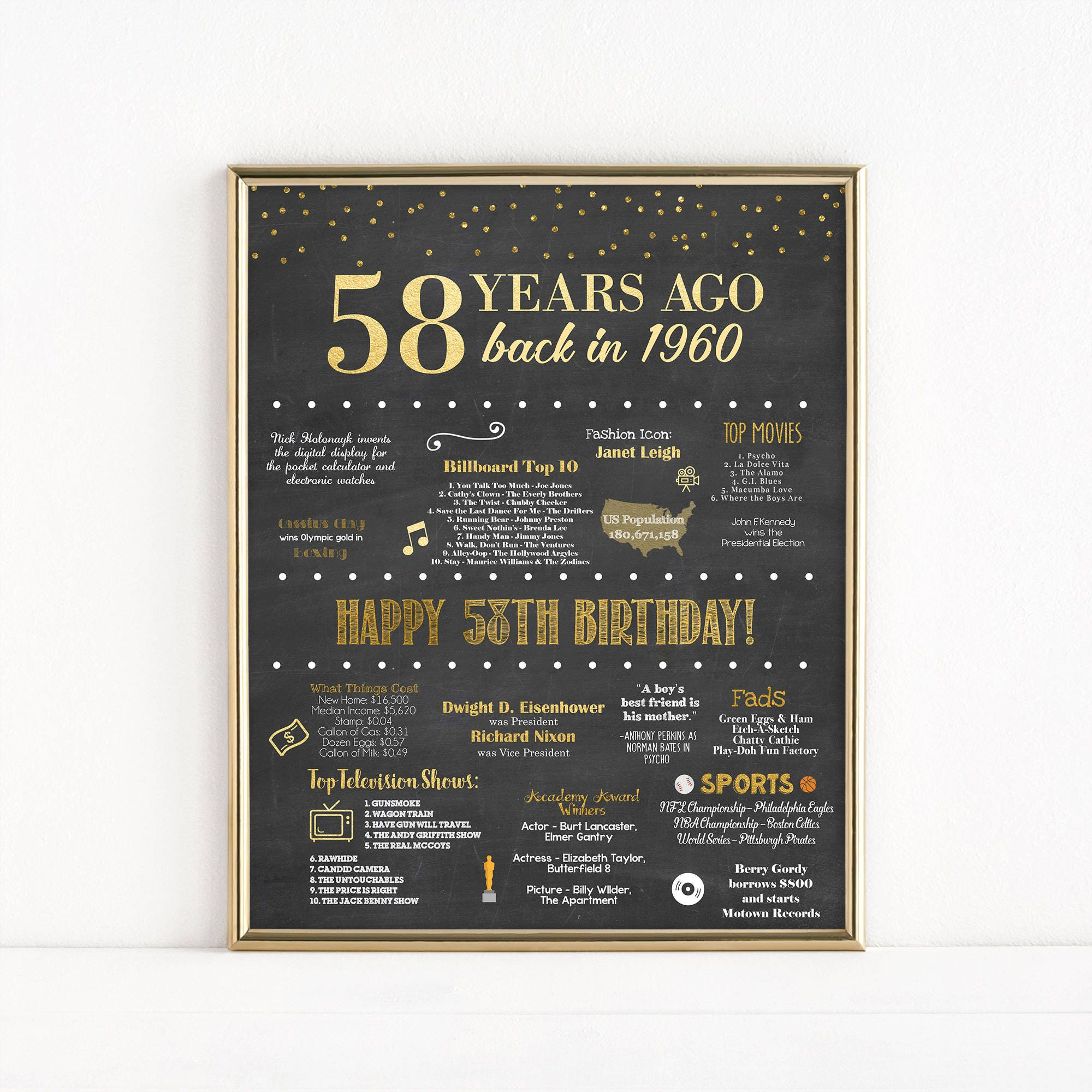 Printable 58th Birthday Chalkboard Sign Back In 1960 # Banc Bois Et Metal