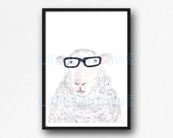Sheep Print Geek Sheep Cool Nerd Wearing Glasses Sheep Watercolor Painting Wall Art Animal Art Print Bedroom Wall Decor Sheep Gift