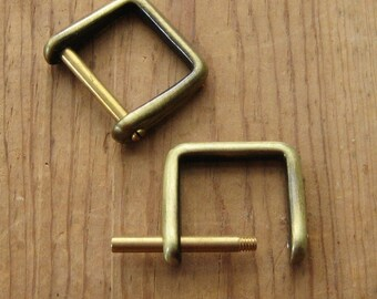 "2 Antique Brass D Rings 1"" Screw In Replacement Purse Strap or Knife Dangler Hardware"