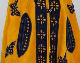 Vintage 1970's Women's Butterfly Suede Leather HiPPiE BoHo WooDsToCk Jacket CAPE Poncho Coat