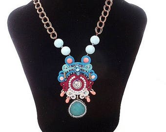 Gemstone aquamarine coral statement necklace , funky fashion statement jewelry