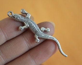 Wholesale Silver Lizard Charms Silver Metal Gecko Charms 56*15mm