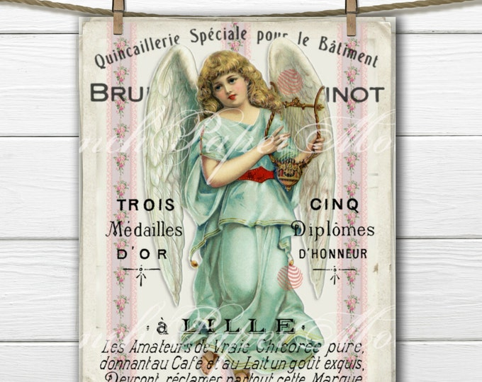 Shabby Chic French Victorian Angel Vintage Printable Image, French Graphic Angel Download, Victorian Angel Instant Download
