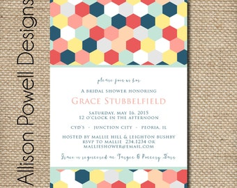 Turquoise, Grey, Coral Bridal Shower - Bridal Luncheon - Baby Shower - Engagement Party - Invitations - Modern - Print your own
