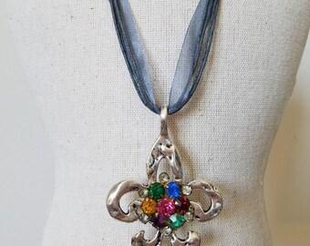 SALE~Vintage Rhinestone Fleur-De-Lis Pendant Necklace~Vintage Multi-Colored Rhinestone Necklace~Blue Ribbon Pendant Necklace