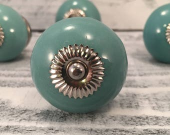 Round Turquoise Ceramic Tomato Knobs, Decorative Pull Knob, Dresser Drawer Furniture Upgrade Pulls, Cabinet Supply, Item #508678472