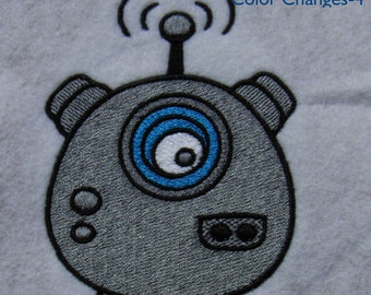Alien Robot 1 Embroidery Design, Multiple Formats