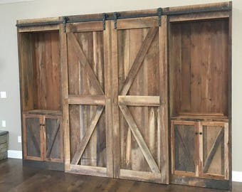 Rustic Entertainment Center, Reclaimed Pine Barn Siding, Sliding Barn Doors and Track, Made to Order, Free Shipping