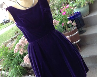 Vintage 50s purple velvet prom formal dress with crinoline skirt size 12 free shipping