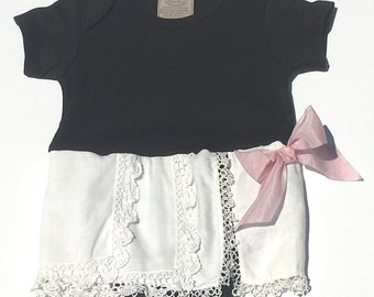 Hankie Babies vintage hankie onesie dress -- Phoebe style Made to Order Wholesale Avail