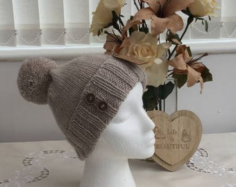 Handknit Ladies Natural Beanie Hat with Yarn Pompom - Ready to ship