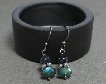 Green, Blue Labradorite Earrings Oxidized Sterling Silver Petite Minimalist Earrings Gift for Her Gemstone Stack