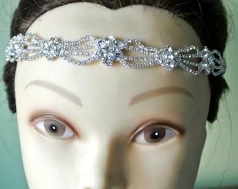 Rhinestone Bridal headpiece Gatsby style crystal headband