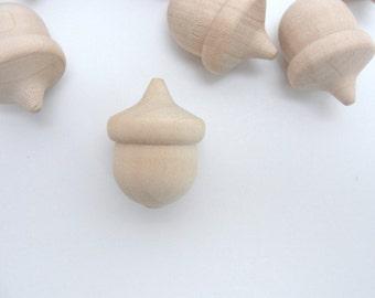 Wooden acorns, lifesize wooden acorn, life size wood acorn, set of 12 Unfinished DIY