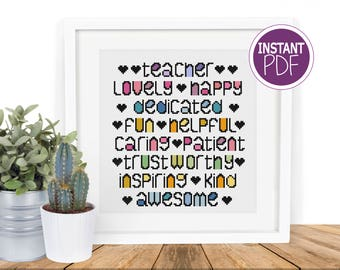 Teacher Cross Stitch Pattern - Modern Whimsical Teacher Words Cross Stitch Pattern  -  counted cross stitch Chart by Peppermint Purple