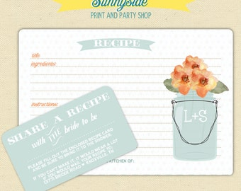 PRINTED Mason Jar Recipe Card Set - 50 Recipe Cards with Enclosures - Wedding Gift, You Choose Flower