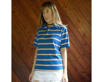 EXTRA 20% OFF SALE.... Retro Striped Blue Polo s/s Shirt - Vintage 70s - Small