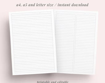 Lined Paper Student Note Taking Printable Set | A4, A5 and Letter | Instant Download | Note Paper, Notebook, Discbound Notes