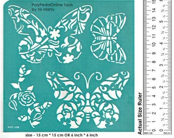 "Stencil Stencils Butterfly Template, Reusable, Adhesive, Flexible, for polymer clay, glass, wood, cards | LARGE BUTTERFLIES | 6"" 15 cm"