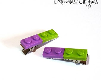 Pair of green and purple Lego bricks strips
