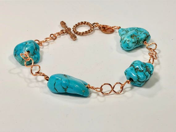 SJC10136 - Handmade copper bracelet with turquoise gemstones, copper infinity links and copper toggle clasp.