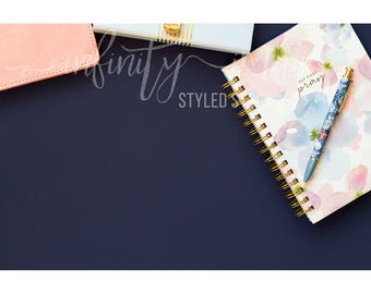 Blue Horizontal Styled Stock Product Photography Background w/Pink Notebook, Journal, Pens, Wallet, Jewelry Holder / High Res File #INF127SS