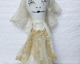 Prim Art Doll - Fantasy Ragdoll - Misfit Doll - Odd Cute Doll - Plush Art Doll - Odd Creature Doll - Miss Havisham Series