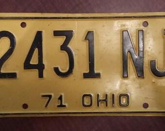 Vintage 1971 Ohio License Plate, 1971 license plate, vintage Ohio license plate, old Ohio license plate, antique Ohio license plate