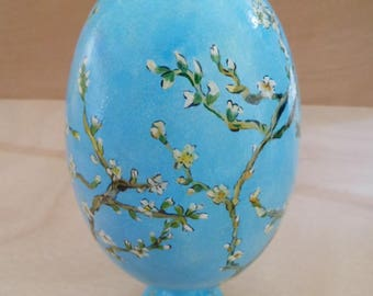 Egg on hand painted support. Wooden egg homage to Van Gogh. Peach blossoms by Van Gogh.