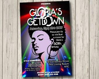 70s Soul Train Disco Dance Party Invitation 60's 70's Party Birthday Invite The Get Down personalised disco ball invitation