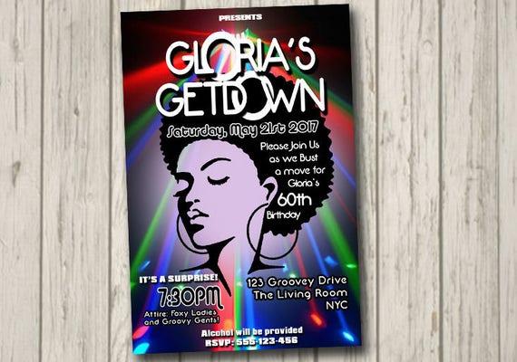 70s Soul Train Disco Dance Party Invitation 60's 70's