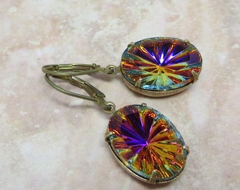 Vitrail Glass Earrings Rainbow Earrings RARE Vintage Glass Jewels Jewelry Gift