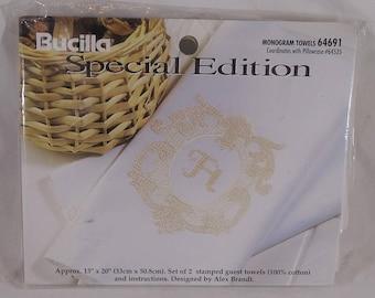 Bucilla Stamped Cross Stitch Kit Monogram Towels 64691 FREE Shipping USA