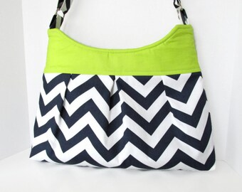 Chevron Purse Pleated Diaper Bag Navy Blue with Lime Green Accent Lining Adjustable Strap