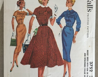 Vintage 1956 McCall's Misses Dress #3752 Size 14 Bust 34   Vintage McCall's Pattern / 50s McCall's / 19 Peter Pan Collar