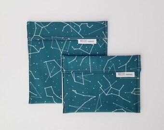Blue Constellations Reusable Snack Bag, Reusable Sandwich Bag, Zero Waste, Neutral, Cotton Washable Snack Bag, Eco Friendly, Astronomy,Stars