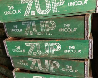 Rare Vintage 1979's Green 7up Wood Soda Pop Crate 24 Dividers
