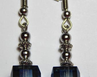 Blue Cube Crystal and Silver Earrings