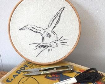 hand embroidered hare drawing, hoop art, wildlife, animal art, nature, gift for animal lover, british wildlife, animals,