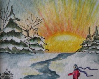 Watercolor Artist Card of Winter Scene Matted Art Card of Snowy Morning Original Art Card