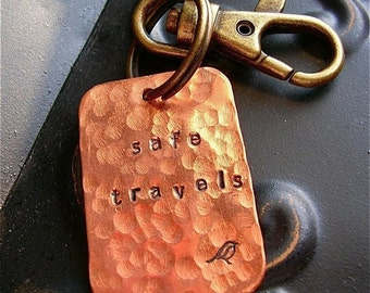 Safe Travels Hand Stamped Copper Keychain - Graduation, Road Trip, Spring Break