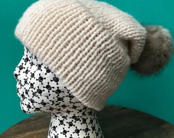Cream Double Brim Slouch Knit Hat with Faux Fur Pom Pom (choose your pom pom color)