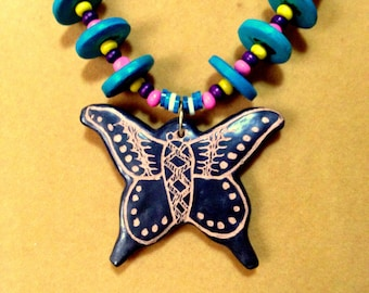 SALE   Butterfly Pendant and Wood Necklace / Fun Butterfly Necklace / Colorful Butterfly Necklace