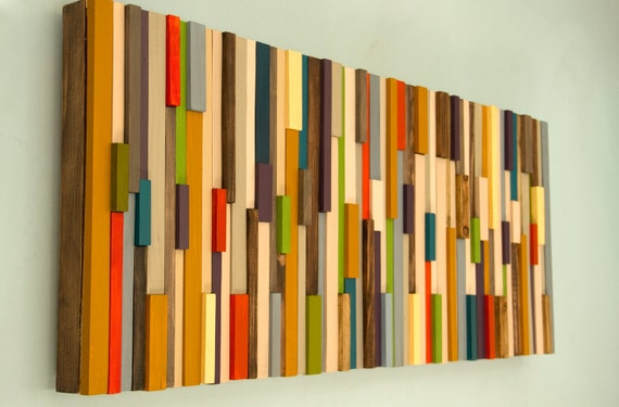 Mid century wall art reclaimed wood art sculpture sale for Sale moderne