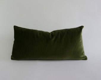 Olive Green -Decorative Bolster Pillow Cover - 10x20 to 12x24  Medium Weight Cotton Velvet- Invisible Zipper Closure- Knife Or Piping Edge
